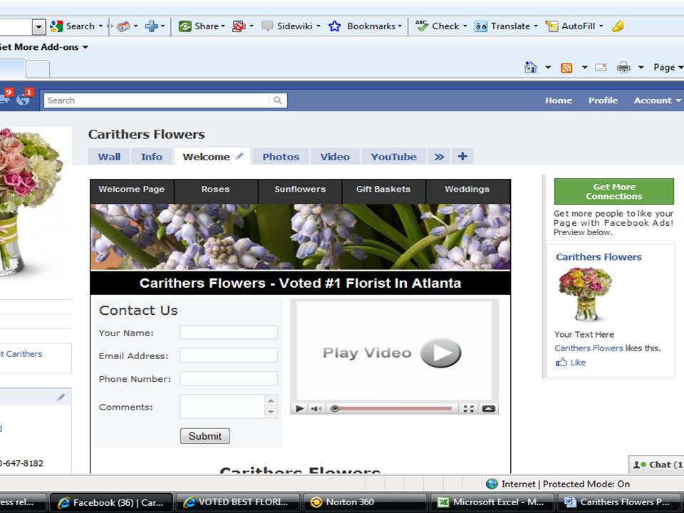 Carithers Flowers Interactive Facebook Fan Page